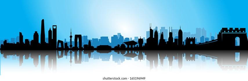 Blue Sunrise Great China Building Skyline