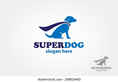 Blue super dog with a cape - vector logo illustration