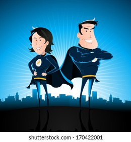 Blue Superhero Man And Woman/ Illustration of a cartoon couple of superhero man and woman standing proudly with star burst shining and cityscape behind