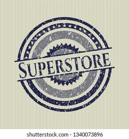 Blue Superstore distressed grunge stamp