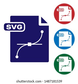 Blue SVG file document. Download svg button icon isolated on white background. SVG file symbol. Set color icons in circle buttons. Vector Illustration