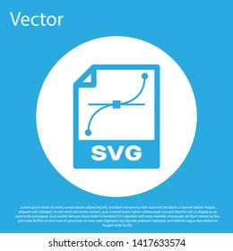 Blue SVG file document icon. Download svg button icon isolated on blue background. SVG file symbol. White circle button. Vector Illustration