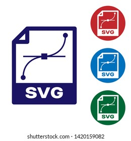 Blue SVG file document icon. Download svg button icon isolated on white background. SVG file symbol. Set color icon in circle buttons. Vector Illustration