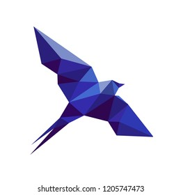 Blue swallow of geometric figures in the style of low poly. Vector illustration.