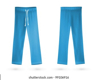 Blue sweatpants blank design template.