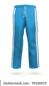 Blue sweatpants blank design template.