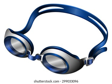 Blue swimming goggles with rubber band