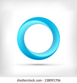 Blue swirl icon. Abstract glossy blue circle logo icon. Infinite sign.