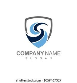 Blue Swirl Letter S In Shield Shape, Logo Template