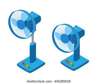 Blue table fan in isometric style, isolated vector