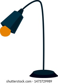 A blue table lamp with yellow bulb, vector, color drawing or illustration.