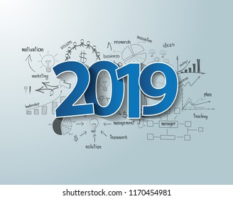 Blue tags label 2019 text design on creative thinking drawing charts and graphs business success strategy plan ideas, Inspiration concept modern template layout, diagram, Vector illustration
