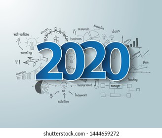 Blue tags label 2020 text design on creative thinking drawing charts and graphs business success strategy plan ideas, Inspiration concept modern template layout, diagram, Vector illustration
