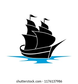 blue tall ships or sailing ships, with their full sails set cruising the ocean, boat logo design
