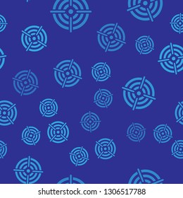 Blue Target sport for shooting competition icon isolated seamless pattern on blue background. Clean target with numbers for shooting range or pistol shooting. Vector Illustration