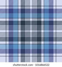 Blue tartan check plaid fabric seamless pattern. Vector illustration.