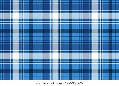 Blue tartan fabric texture. Vector illustration.