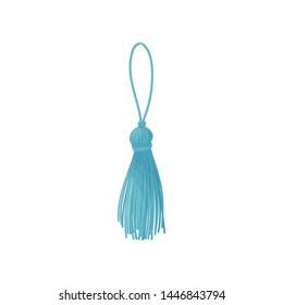 Blue tassel from threads. Vector illustration on white background.
