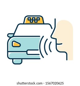 Blue taxi call color icon. Transport search voice command idea. Sound control, audio order, conversation. Smart virtual assistant. Car delivery service. Loud speak. Isolated vector illustration