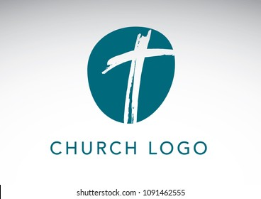 Blue and teal Christian cross church logo. Christianity symbol of Jesus Christ. Natural brush strokes with rough edges. Silhouette outline of cross.