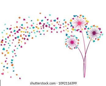Blue teal green vector dandelion herbs, meadow flowers illustration. Floral airy background with dandelion blowing plant. Flowers with heart shaped feather flying. Meadow blossom on white.