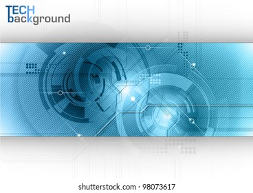 Blue tech background with shining abstract objects