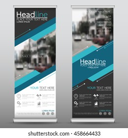 Blue technology roll up business banner design vertical template vector, cover presentation abstract geometric background, modern publication display and flag-banner, layout in rectangle size.