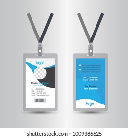 blue template staff or employee identification card vector illustrations or id card