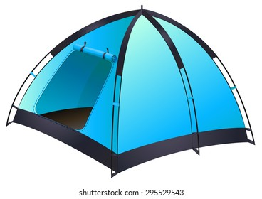 Blue tent with the door opened