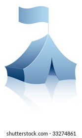 Blue tent on a white background