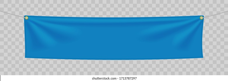 Blue textile banner with folds