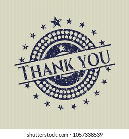 Blue Thank you rubber stamp with grunge texture