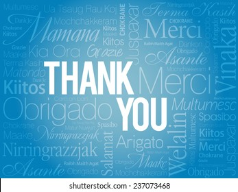 Blue Thank You Word Cloud in vector format