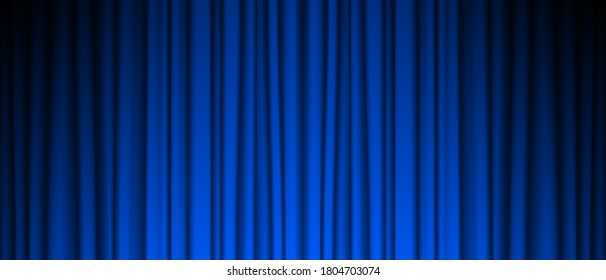 Blue Theater Curtain Vector. Theater, Opera Or Cinema Empty Silk Stage, Blue Scene. Color easily can changed. Realistic Vector Illustration.