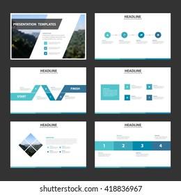 Blue theme presentation templates Infographic elements flat design set for brochure flyer leaflet marketing advertising