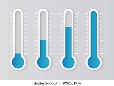 Blue thermometers with different levels. Vector illustration.