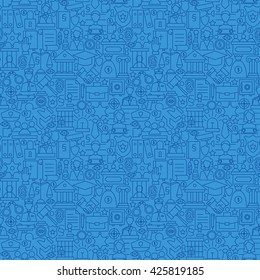 Blue Thin Line Law and Justice Seamless Pattern. Vector Website Design and Seamless Background in Trendy Modern Outline Style. Attorney Lawyer and Crime.