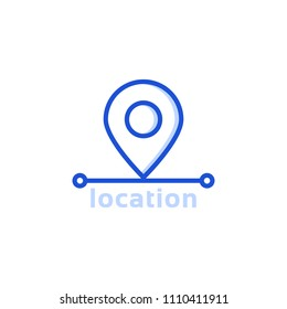 blue thin line location pin icon. flat modern linear geopin ui target logotype graphic art design isolated on white background. concept of geotag or geoloc search marker like find right place or route