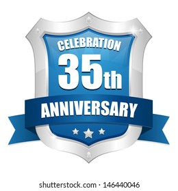 Blue  thirty five year anniversary seal