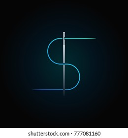 Blue thread and needle vector concept colorful icon or symbol on dark background