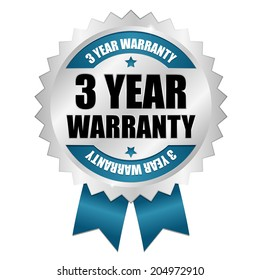 Blue three year warranty badge with ribbon on white background