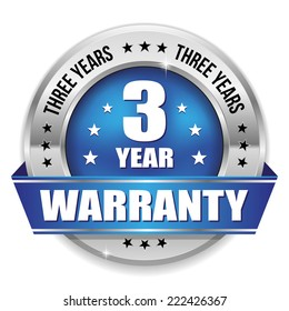 Blue three year warranty badge with metallic border and ribbon