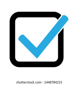 Blue tick icon vector symbol, checkmark isolated on white background, checked icon or correct choice sign, check mark or checkbox pictogram