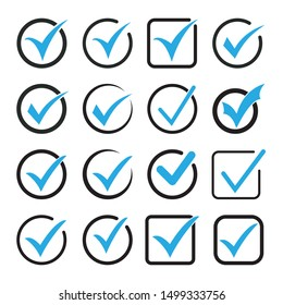 Blue tick icon vector symbol, checkmark isolated on white background