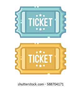 blue ticket and golden ticket isolated on white background