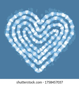 Blue tie dye heart placement print vector illustration for cards, t shirts, cloth, fashion with Japanese shibori techique imitation.