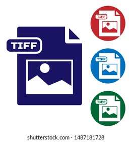 Blue TIFF file document. Download tiff button icon isolated on white background. TIFF file symbol. Set color icons in circle buttons. Vector Illustration