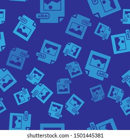 Blue TIFF file document. Download tiff button icon isolated seamless pattern on blue background. TIFF file symbol.  Vector Illustration