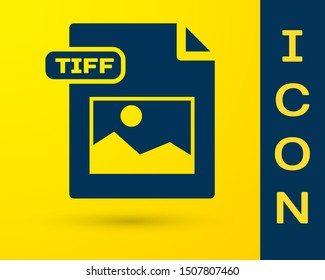 Blue TIFF file document. Download tiff button icon isolated on yellow background. TIFF file symbol.  Vector Illustration
