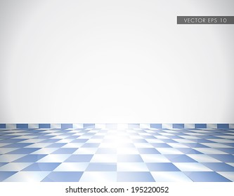 Blue tiled glossy floor with white wall - beautiful vector background